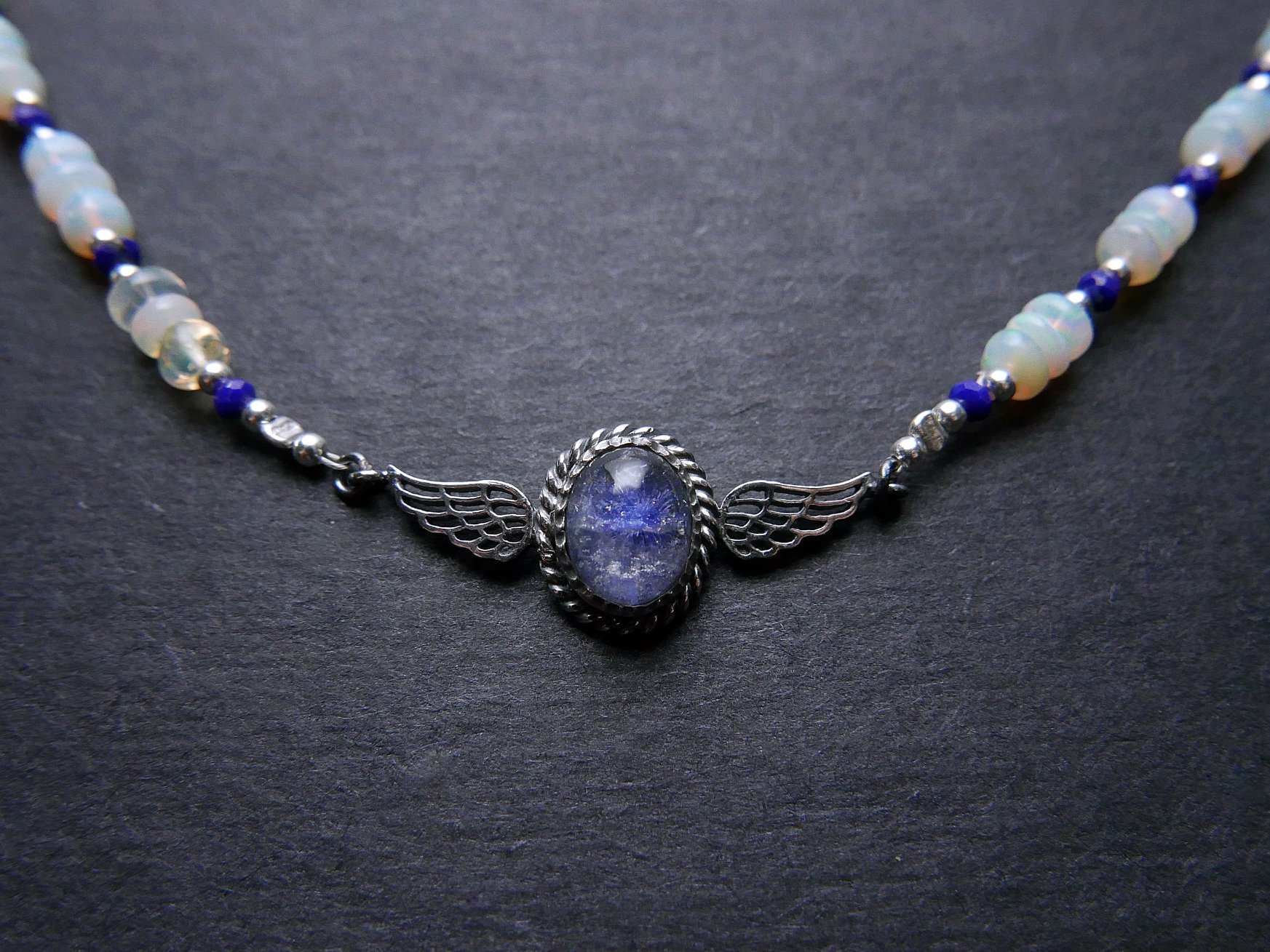 飛翔之夢。藍線石純銀兩用鍊