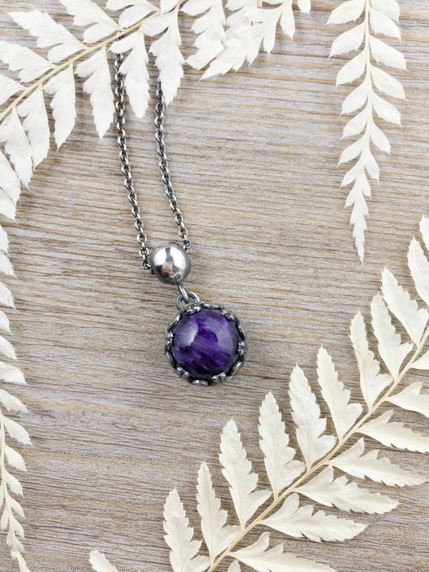 紫龍晶雙面球形純銀墜