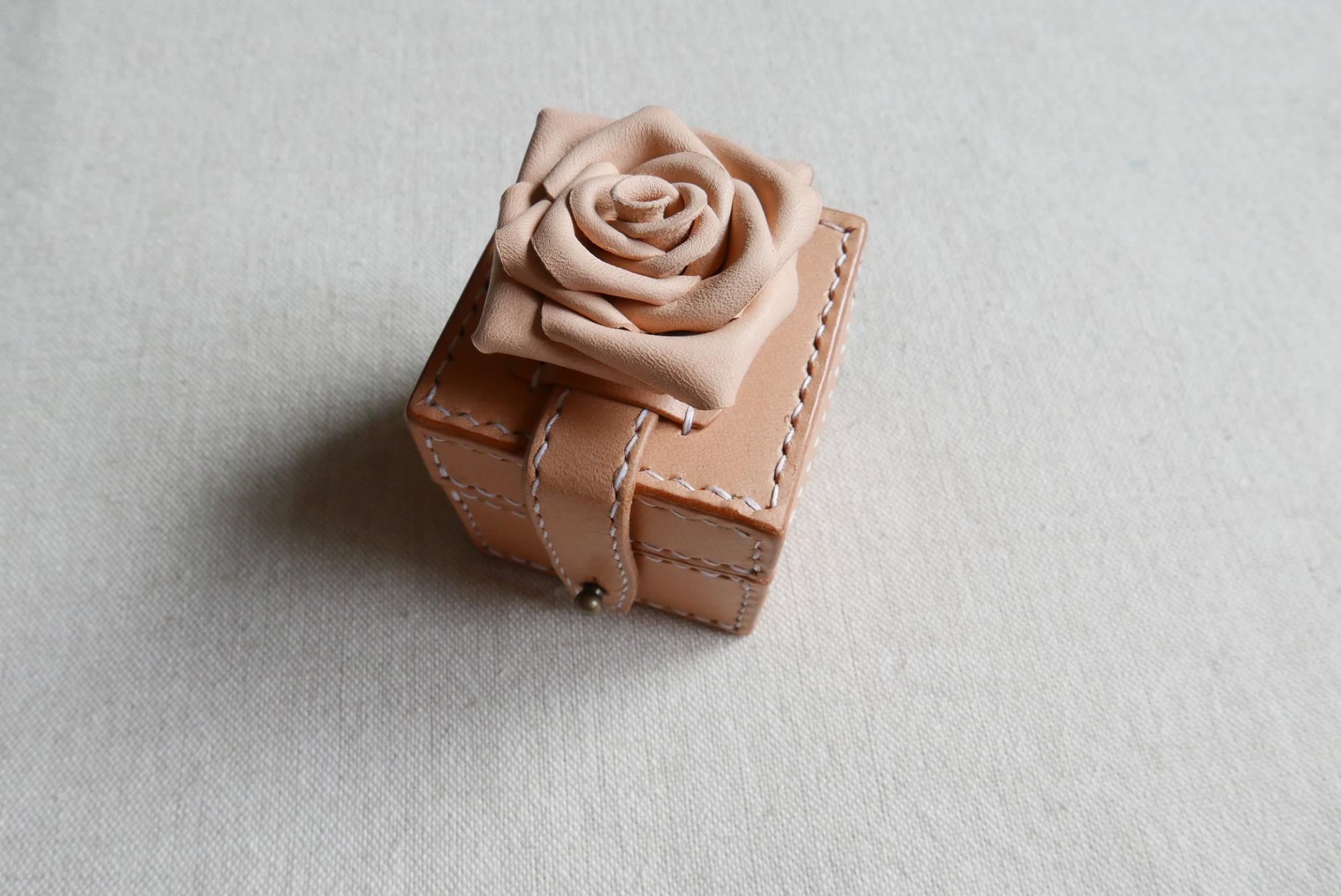 手工駒縫真皮戒指盒