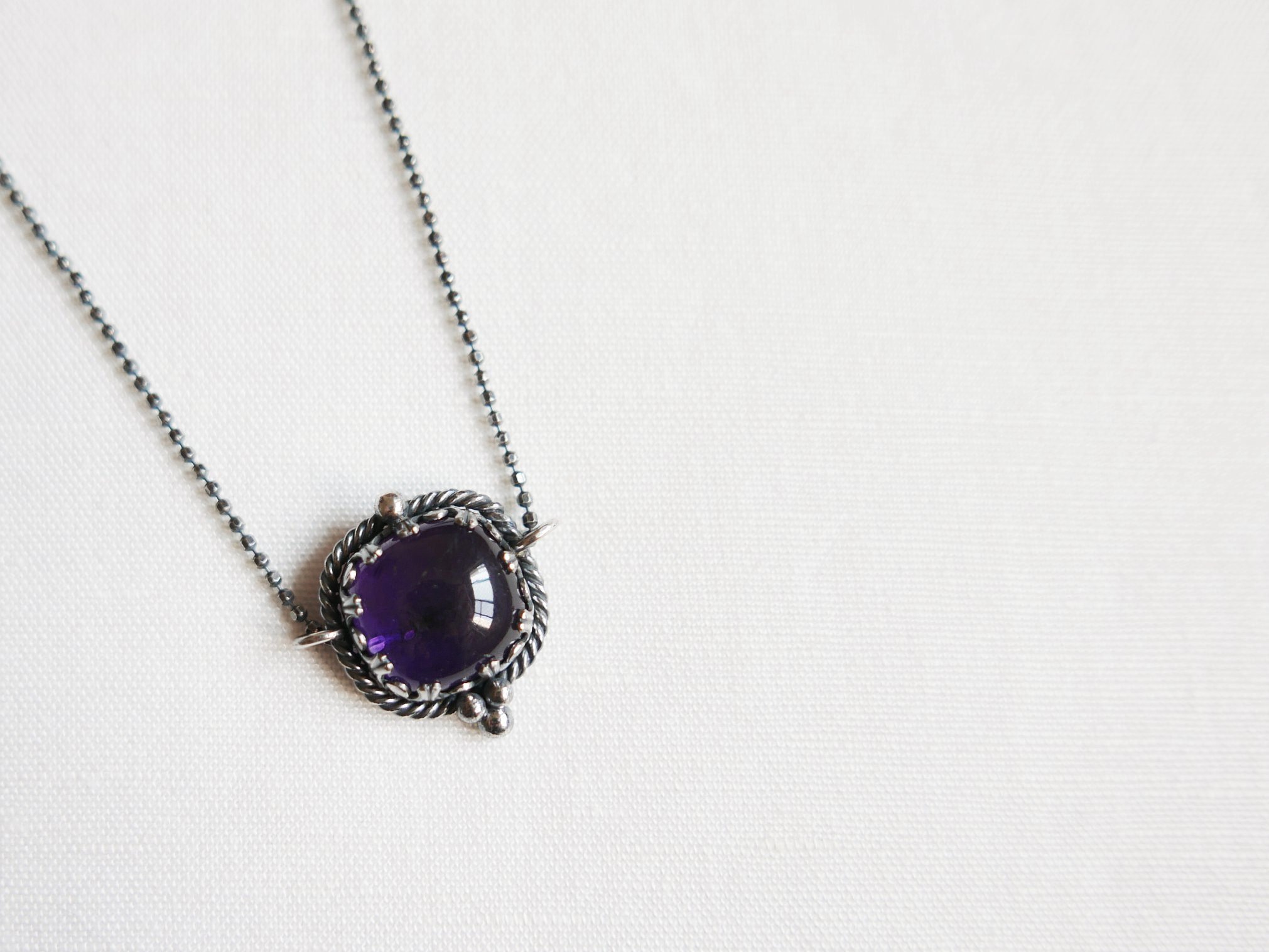 贊比亞紫水晶蕾絲純銀墜