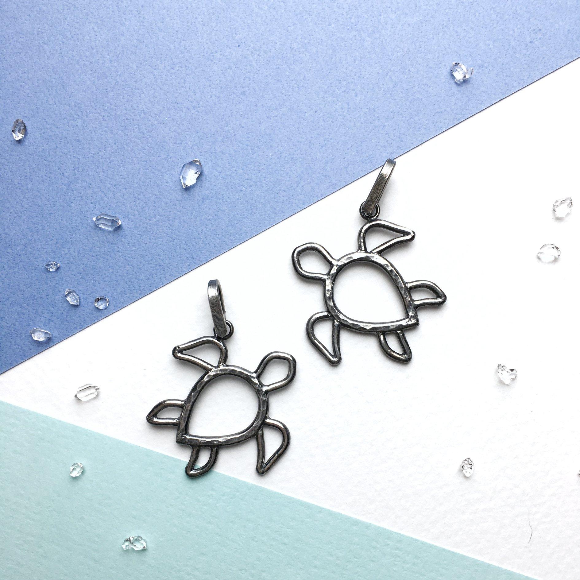 海龜小墜。純銀版