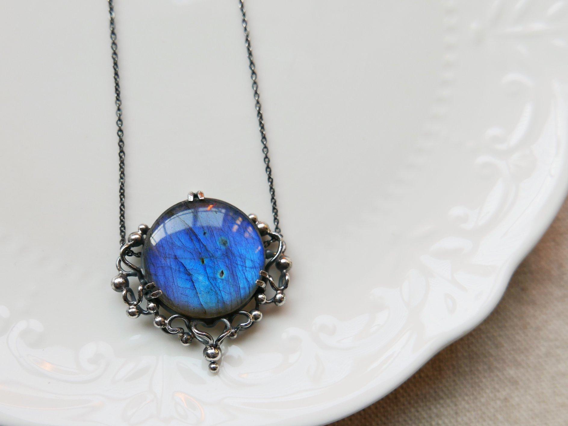 藍月之鏡。拉長純銀鎖骨鍊