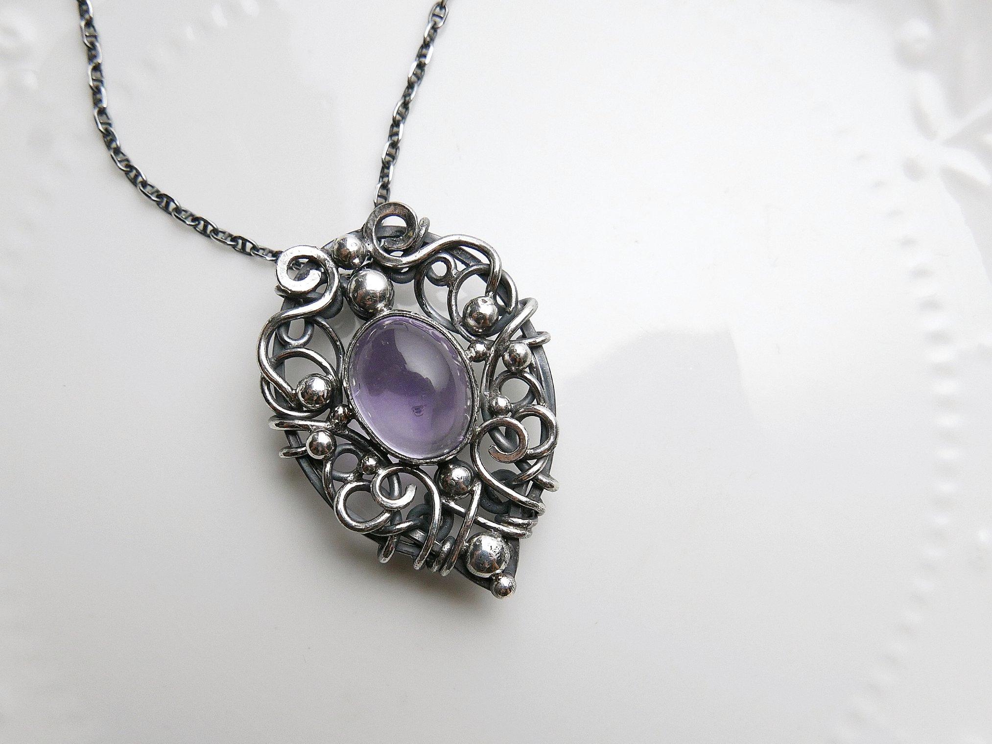 桃心之盾。紫水晶兩戴式銀墜