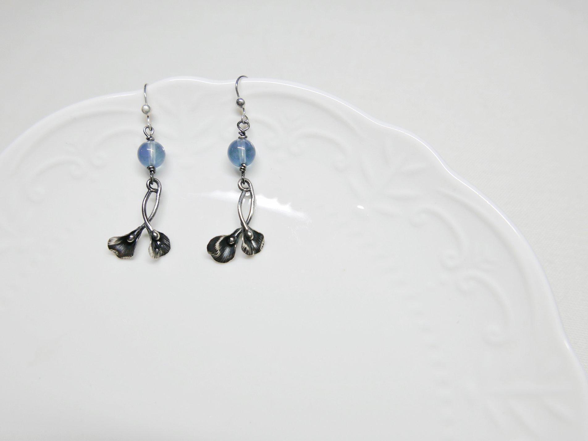 藍瑩石花瓣純銀耳環