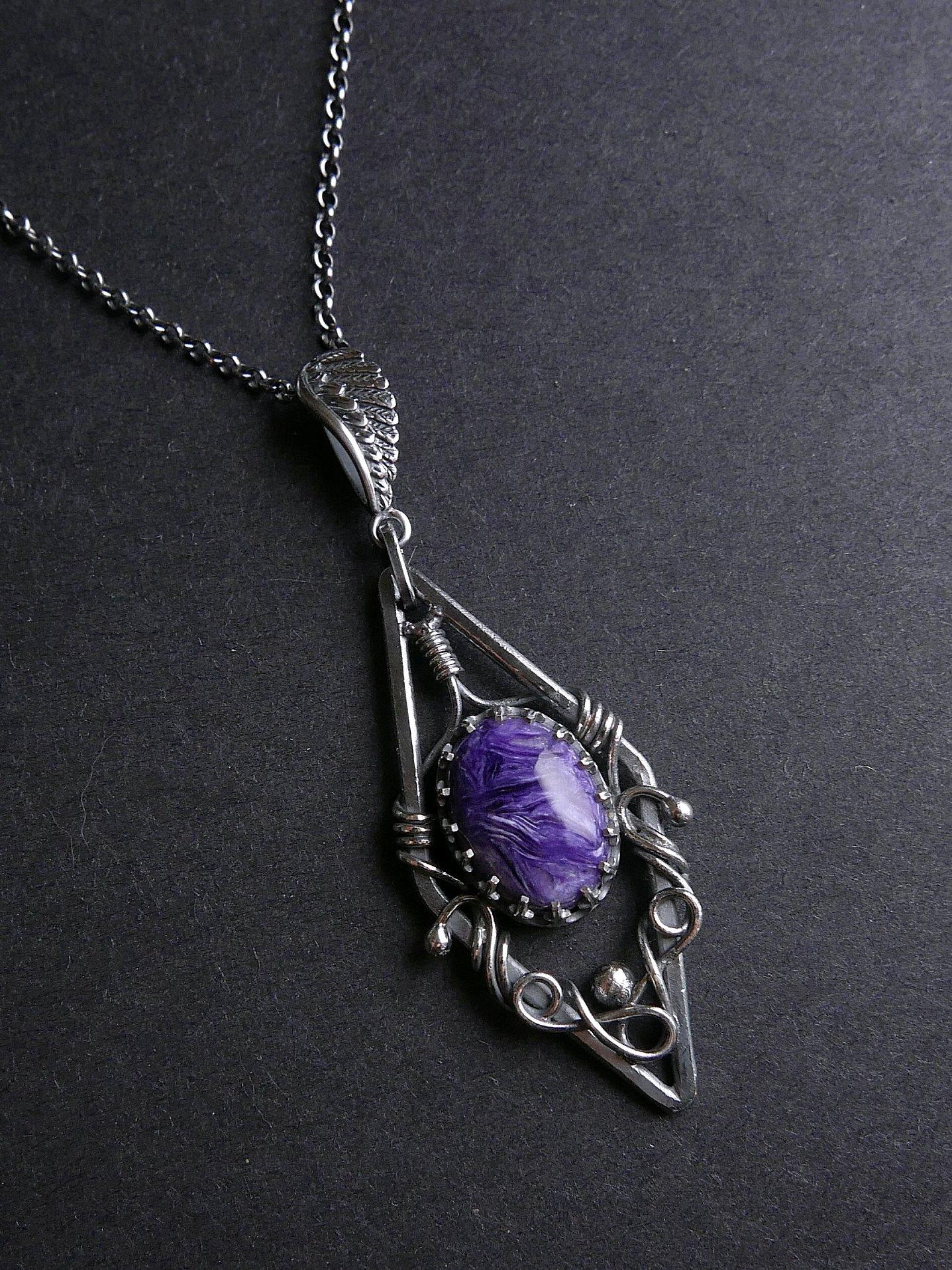 片翼之羽。紫龍晶純銀墜
