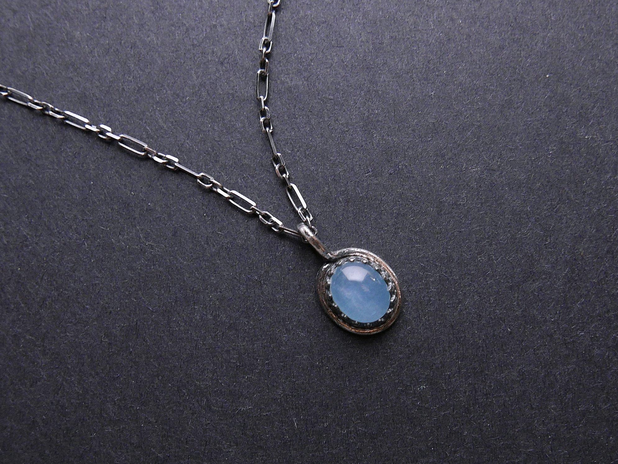 海水藍寶簡約純銀鍊