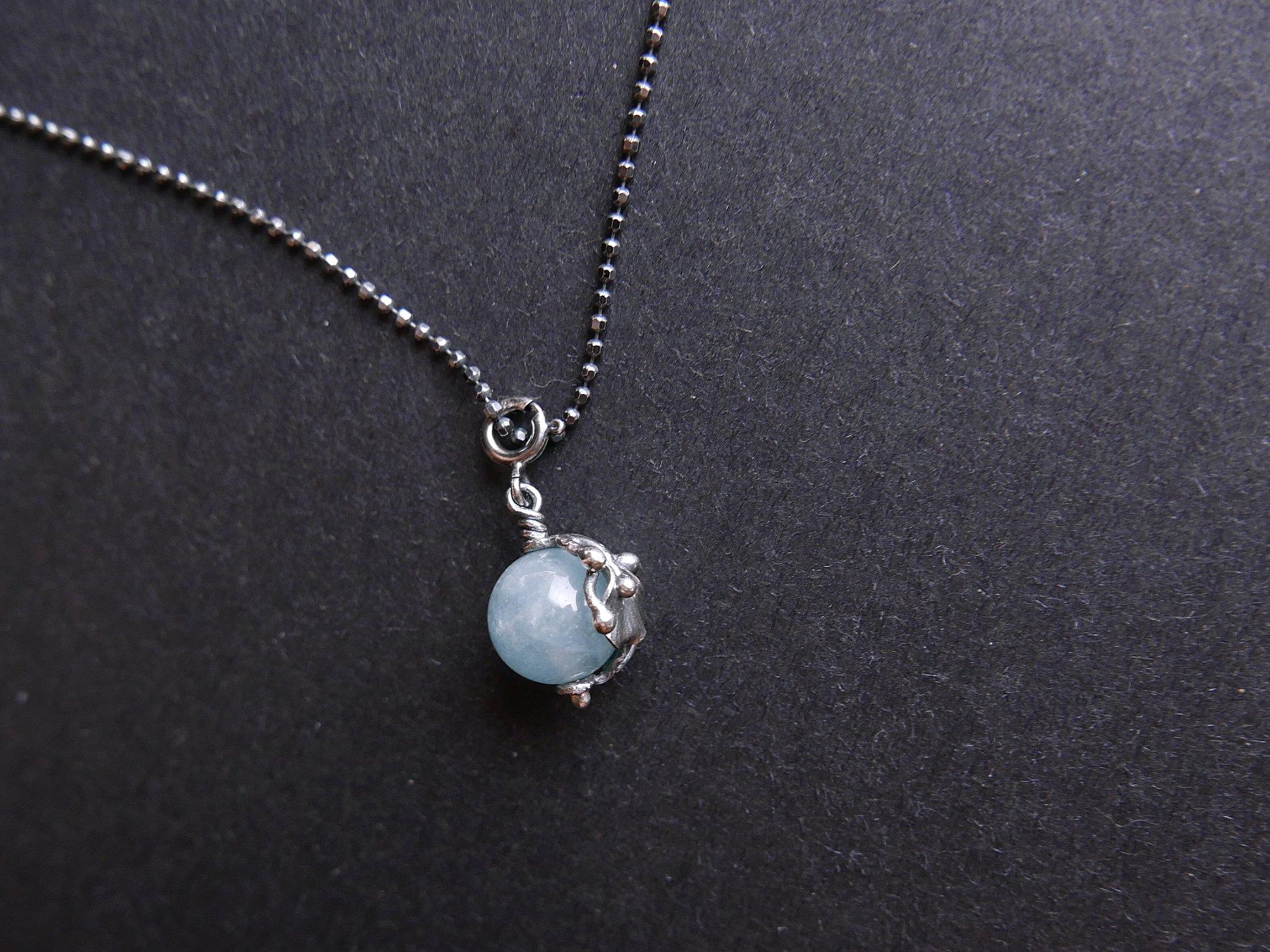海藍寶花葉純銀隨意扣