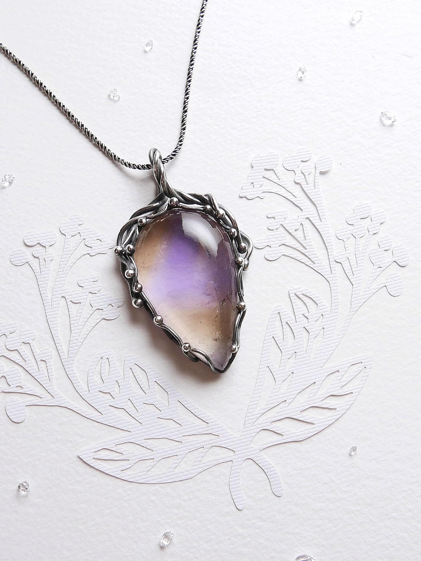 疏影。紫黃晶純銀墜